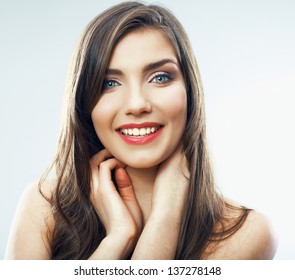 Girl face close up. Beauty young woman isolated portrait. Model pose in studio in beauty style.