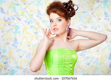 Girl in fairy costume surprised, , colorful background