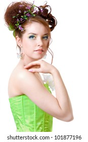 Girl in fairy costume, white background