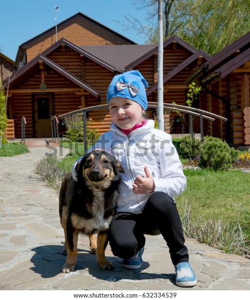 girl with faithful dog