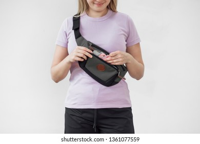 Girl with a Fanny pack on a white background