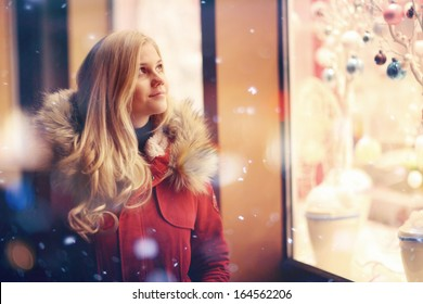 girl fashion night city lights snow purchase sales