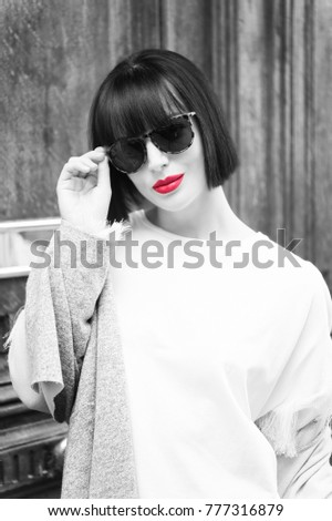 d51544d6c60f Girl Fashionable Glasses Shirt France Look Stock Photo (Edit Now ...