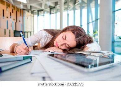 Girl felt sleep in the University class while studying