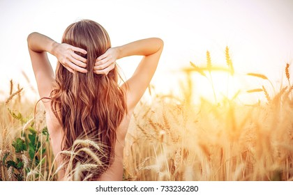 A girl field adjusts her hair, naked torso, brunette woman with long hair. Wheat field, idea of caring for the head. Well-groomed hair hand of nature.