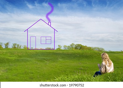 Girl in the field dreams about the house