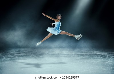 girl figure skating at ice arena