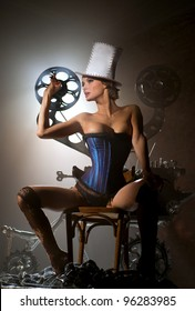 Girl with a film projector
