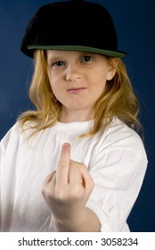 girl with finger up