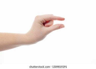 girl fingers shows the size on a white background