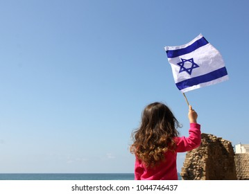 girl with the flag of israel