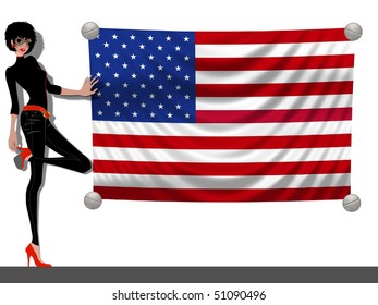 Girl with a Flag of the USA