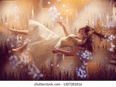 Girl floating in lights and stars.