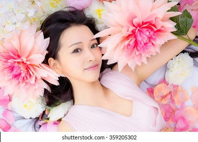 Girl in flower good sleep