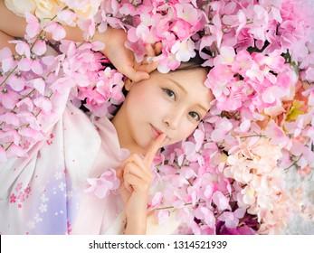Girl in flower sakura japanese style