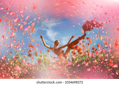 Girl with flowers. Girl in flowers