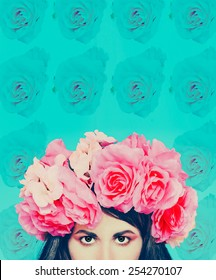 Girl with flowers on her head. Floral background. March 8 Style