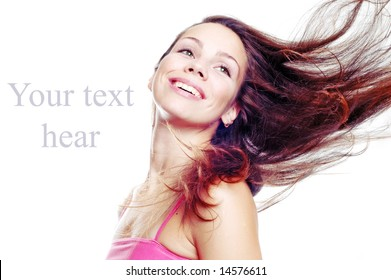 girl with fly-away hair, isolated