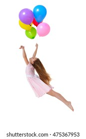 girl flying with balloons on white background