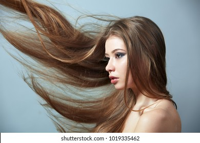 Girl with flying hair