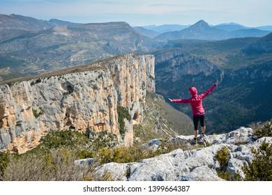 girl flying on the mountains, Gorges du Verdon, Provence, France