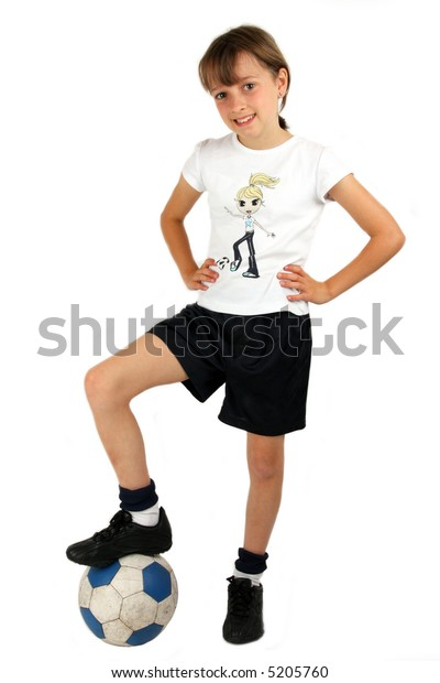 Girl with a football against a white background