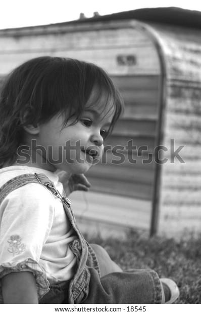 girl framed outdoors