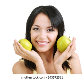 Girl with fresh apples isolated on white