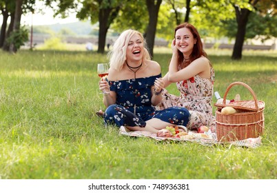 girl friends have fun, drink wine celebrate friendship on picnic laughing and joking