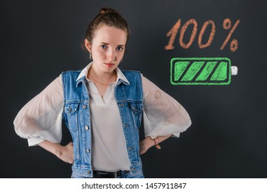 A girl, full of charge and energy for 100 percent before the start of the school year is worth akimbo. Education concept