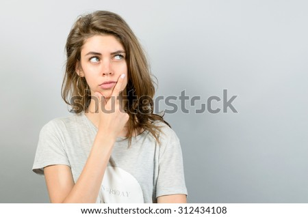 girl full doubts hesitation girl thinking の写真素材 今すぐ編集