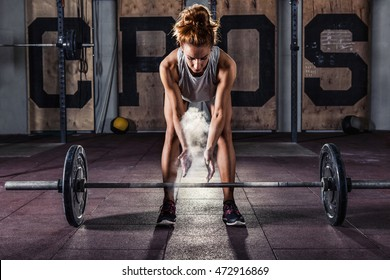 Girl getting ready for crossfit  training