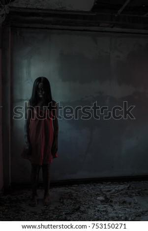 0d7d0dbdb66 Girl Ghost Red Dress Stock Photo (Edit Now) 753150271 - Shutterstock