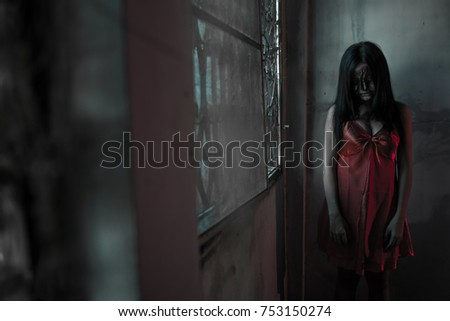 5cf1bcda9a3 Girl Ghost Red Dress Stock Photo (Edit Now) 753150274 - Shutterstock