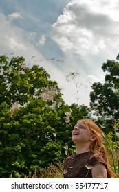 Girl with Giant Dandelion