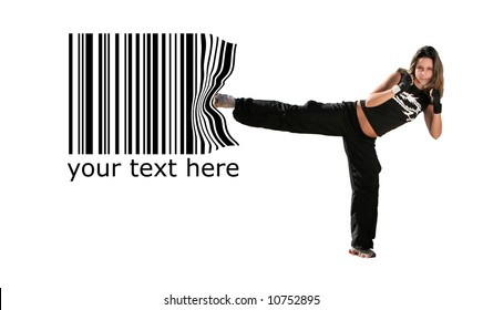 girl give a kick on the barcode