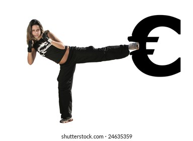 girl give a kick on the euro symbol