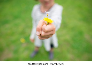 Girl giving flowers