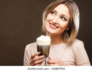 girl with glass of coffee witn cream