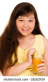 girl with glass of juice