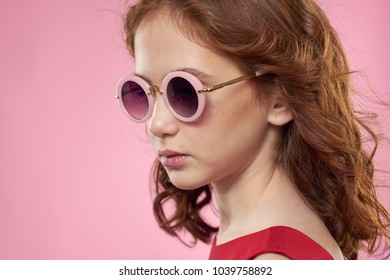 17df5abb56dc Stylish Girl Pink Glasses Fashion Stock Photo (Edit Now) 1052008121 ...