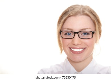 The girl in glasses with blue eyes