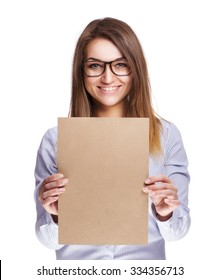 The girl in glasses holding a sheet of paper, MockUP