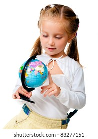 girl with globe isolated on white background
