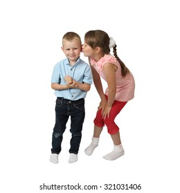 Girl is going to kiss little boy isolated on square white background
