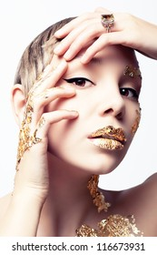 Girl with gold foil