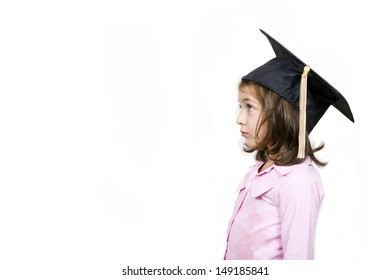 Girl in graduation cap.Profile, isolated on a white background