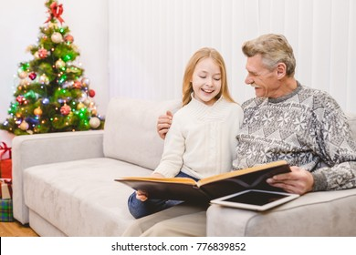 The girl with a grandfather read the book near the christmas tree