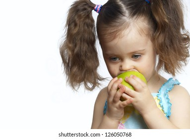 The girl with a green apple