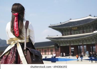 The girl in Gyeongbokgung, Seoul, South Korea
